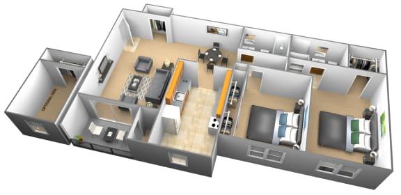2 bedroom 2 bathroom 3D floor plan at Woodridge Apartments in Randallstown, Maryland