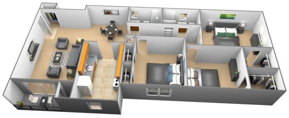 3 bedroom 2 bathroom 3D floor plan at Woodridge Apartments in Randallstown, Maryland