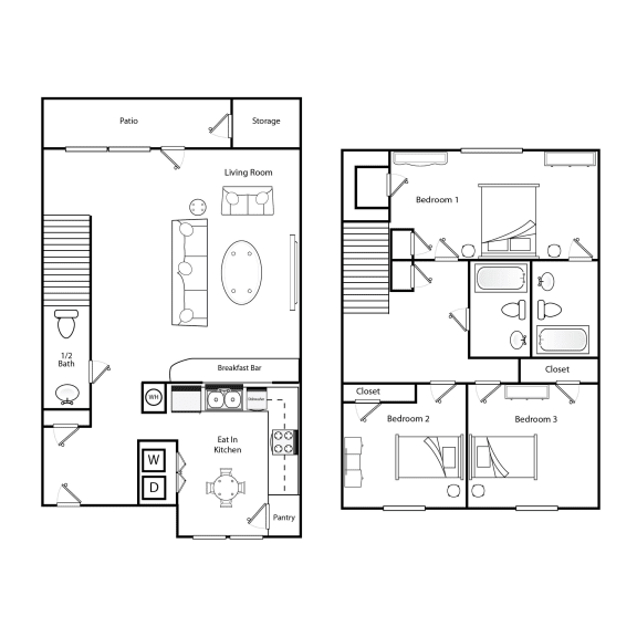 Floor Plan  3 bedroom 2.5 bathroom floorplan image at Broadwater Townhomes in Chester, VA