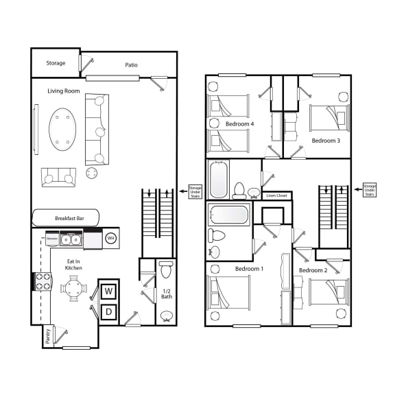 Floor Plan  D1 4 bedroom 2.5 bathroom floorplan image 3 bedroom 2.5 bathroom floorplan image at Broadwater Townhomes in Chester, VA