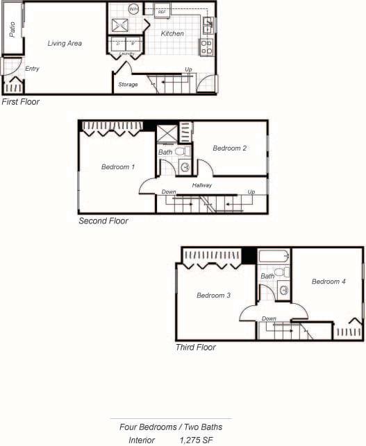 Floor Plan  D1 Townhome floor plan at Parklane Apartments