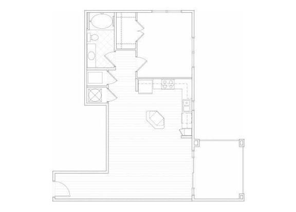 Floor Plan  One bedroom one bathroom A11 floorplan at 1160 Hammond Apartments in Sandy Springs, GA