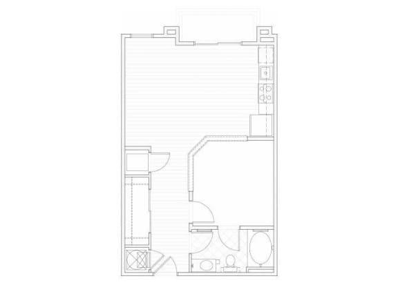 Floor Plan  One bedroom one bathroom A1 floorplan at 1160 Hammond Apartments in Sandy Springs, GA
