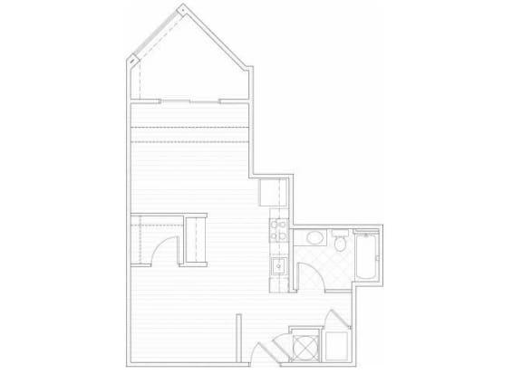 Floor Plan  One bedroom one bathroom A2 floorplan at 1160 Hammond Apartments in Sandy Springs, GA