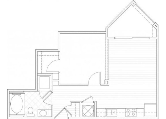 One bedroom one bathroom A3 floorplan at 1160 Hammond Apartments in Sandy Springs, GA