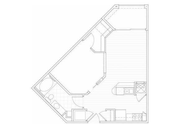 Floor Plan  One bedroom one bathroom A4 floorplan at 1160 Hammond Apartments in Sandy Springs, GA