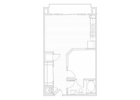 Floor Plan  One bedroom one bathroom A5 floorplan at 1160 Hammond Apartments in Sandy Springs, GA