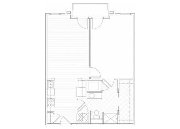 Floor Plan  One bedroom one bathroom A8 floorplan at 1160 Hammond Apartments in Sandy Springs, GA