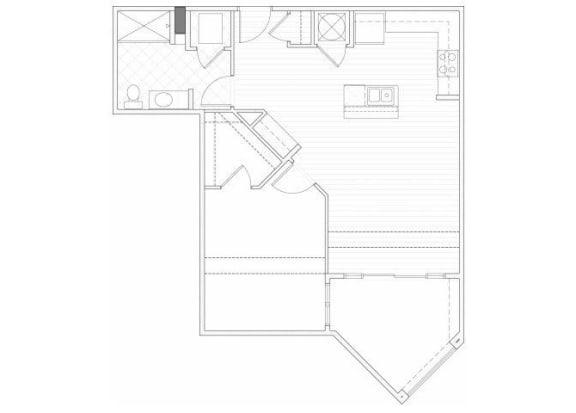 Floor Plan  One bedroom one bathroom A9 floorplan at 1160 Hammond Apartments in Sandy Springs, GA
