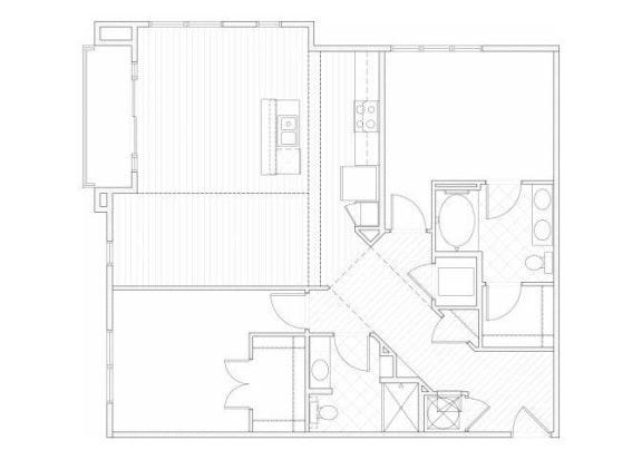 Floor Plan  Two bedroom two bathroom B4 floorplan at 1160 Hammond Apartments in Sandy Springs, GA
