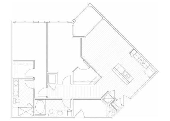 Two bedroom two bathroom B5 floorplan at 1160 Hammond Apartments in Sandy Springs, GA