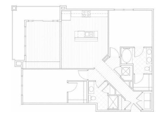 Floor Plan  Two bedroom two bathroom B6 floorplan at 1160 Hammond Apartments in Sandy Springs, GA