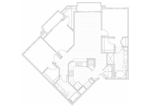 Floor Plan  Three bedroom two bathroom C1 floorplan at 1160 Hammond Apartments in Sandy Springs, GA