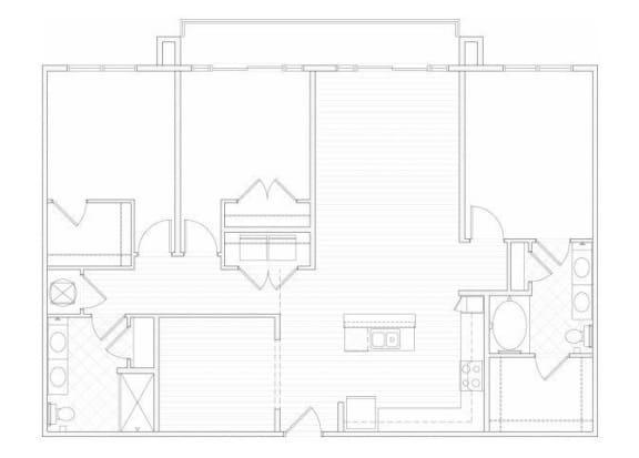 Floor Plan  Three bedroom two bathroom C2 floorplan at 1160 Hammond Apartments in Sandy Springs, GA