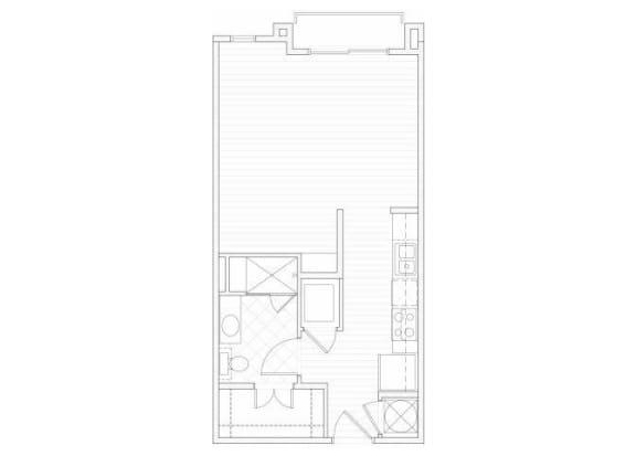 Studio one bathroom S1 floorplan at 1160 Hammond Apartments in Sandy Springs, GA