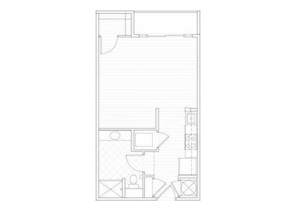 Floor Plan  Studio one bathroom S2 floorplan at 1160 Hammond Apartments in Sandy Springs, GA