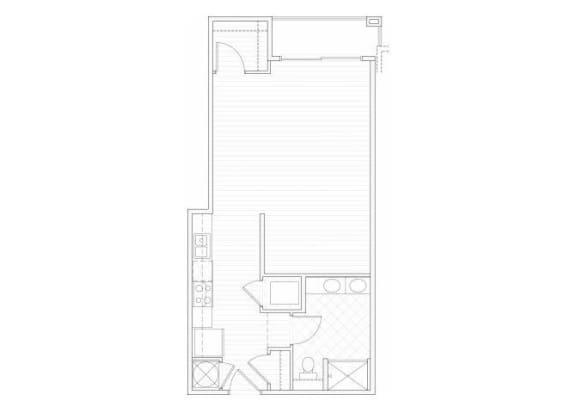 Floor Plan  Studio one bathroom S4 floorplan at 1160 Hammond Apartments in Sandy Springs, GA