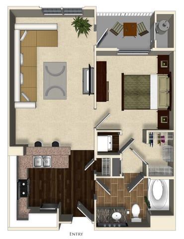 Floor Plan  Basil A floor plan at Terrena Apartment Homes in Northridge, CA, opens a dialog