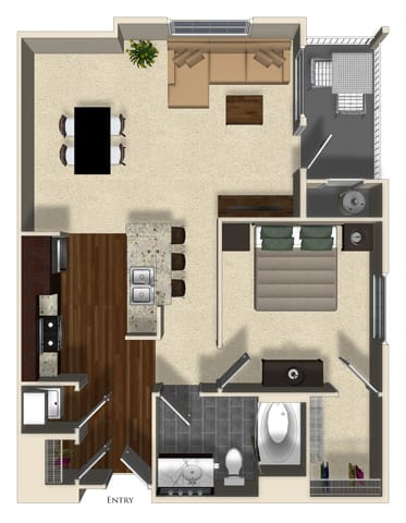 Floor Plan  Rosemary A floor plan at Terrena Apartment Homes in Northridge, CA, opens a dialog