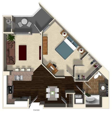Floor Plan  Thyme floor plan at Terrena Apartment Homes in Northridge, CA, opens a dialog