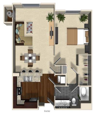 Floor Plan  Lavender floor plan at Terrena Apartment Homes in Northridge, CA, opens a dialog