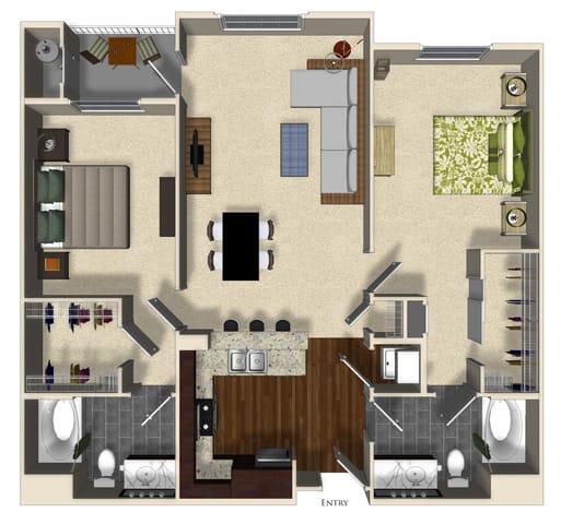 Floor Plan  Orange A floor plan at Terrena Apartment Homes in Northridge, CA, opens a dialog