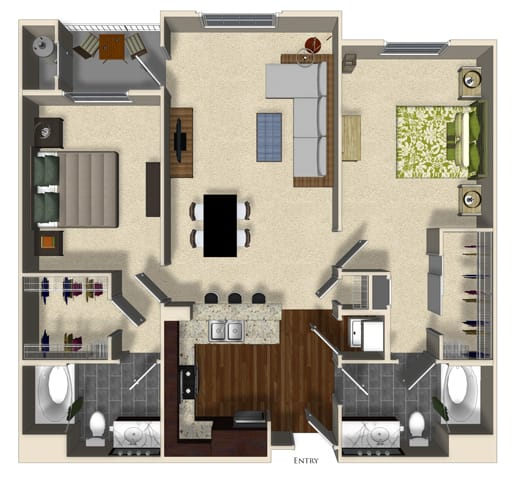 Floor Plan  Orange B floor plan at Terrena Apartment Homes in Northridge, CA, opens a dialog