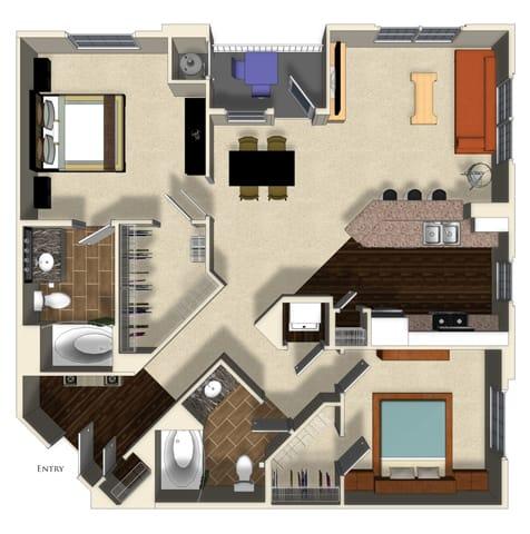 Floor Plan  Pomegranate B floor plan at Terrena Apartment Homes in Northridge, CA, opens a dialog