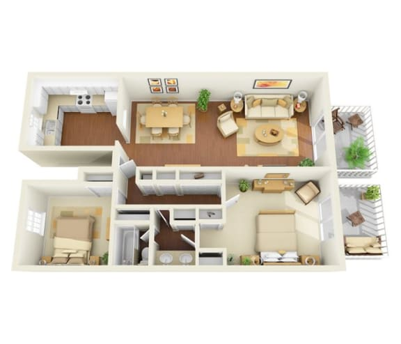 The Legacy 2 bedroom 1 bath 1150 sq ft floor plan with kitchen, dining/living, 1 bathroom, closets,  2 patios