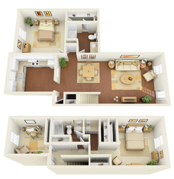 The Legacy 3 bedroom 2 bath town home 1450 sq ft floor plan with kitchen, dining/living, 2 bathroom, closets,  balcony