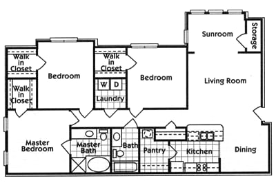 three bedroom two bath floor plan
