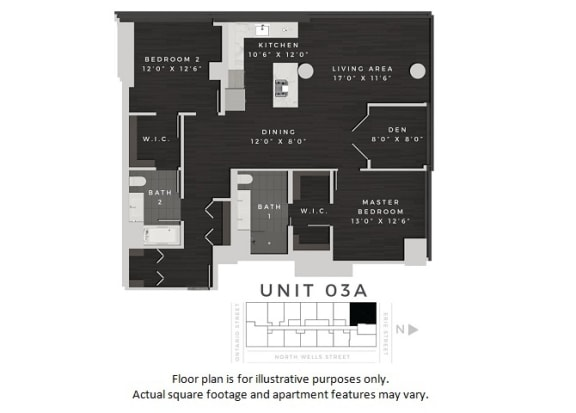 Floor Plan  Unit 03A Floor Plan at 640 North Wells, Illinois, 60654, opens a dialog