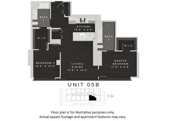 Floor Plan  Unit 05B Floor Plan at 640 North Wells, Illinois, 60654, opens a dialog
