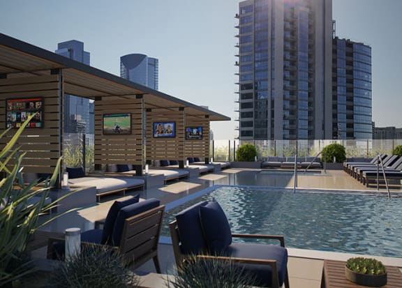 Lounge Swimming Pool with Cabana at 640 North Wells, Chicago, Illinois