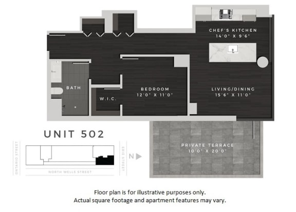 Floor Plan  Unit 502 Floor Plan at 640 North Wells, Chicago, IL, opens a dialog