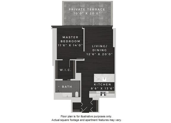 Floor Plan  A7 1 Bedroom 1 Bath Floor Plan at 640 North Wells, Chicago, IL, opens a dialog