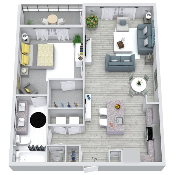 1 bed 1 bath floorplan, at NorthPointe, Greenville