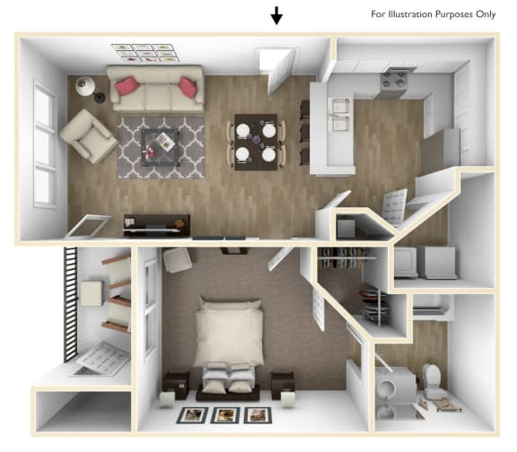 Floor Plan  1 Bedroom 1 Bath 687 sqft (A1r)