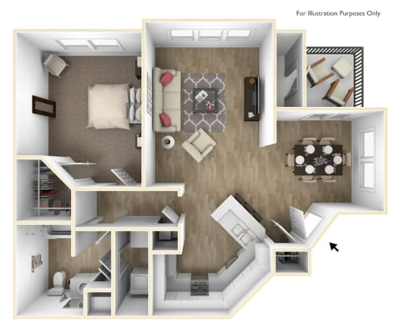 Floor Plan  1 Bedroom 1 Bath 830 sqft (A2r)