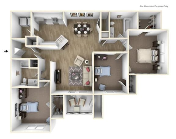 Floor Plan  3 Bedroom 2 Bath 1376 sqft (C1r)