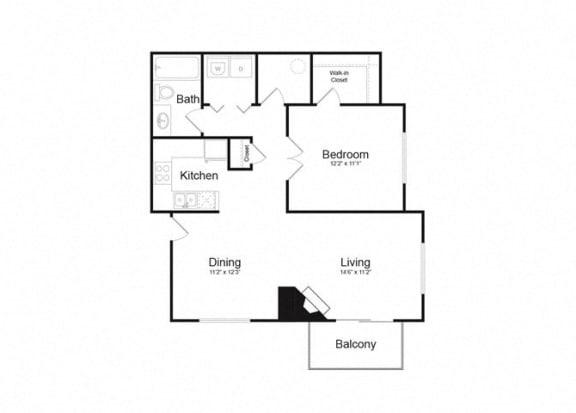 C One Bed And One Bath Floorplan at Alvista Trailside Apartments, Colorado, 80110