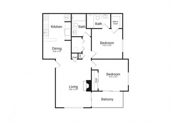 Floor Plan  E Two Bed And Two Bath Floorplan at Alvista Trailside Apartments, Englewood, CO