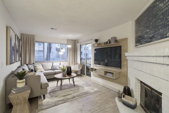 Wood Floor Living Room at Alvista Trailside Apartments, Englewood, CO, 80110