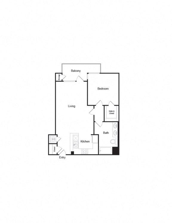 A4b 1B1B FloorPlan layout for apartment living near westwood