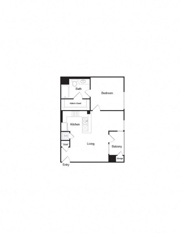 A5b 1B1B 725Sqft FloorPlan unit at apartments in brentwood
