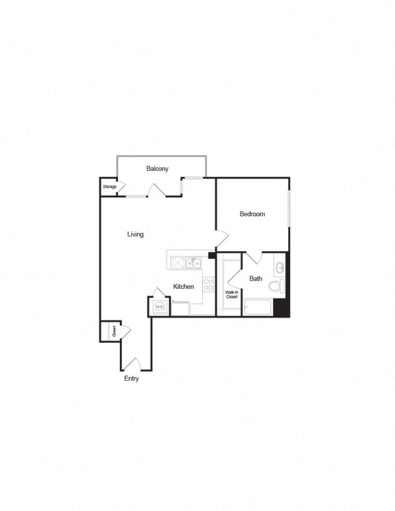 Floor Plan  A6b 1B1B FloorPlan layout for apartment living in brentwood