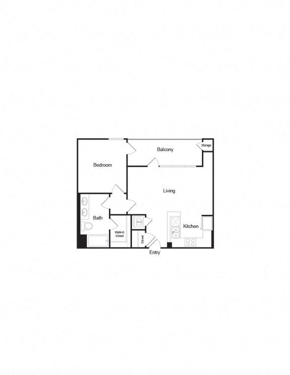 A8 a-b 1B1B 760Sqft FloorPlan for units  in brentwood ca