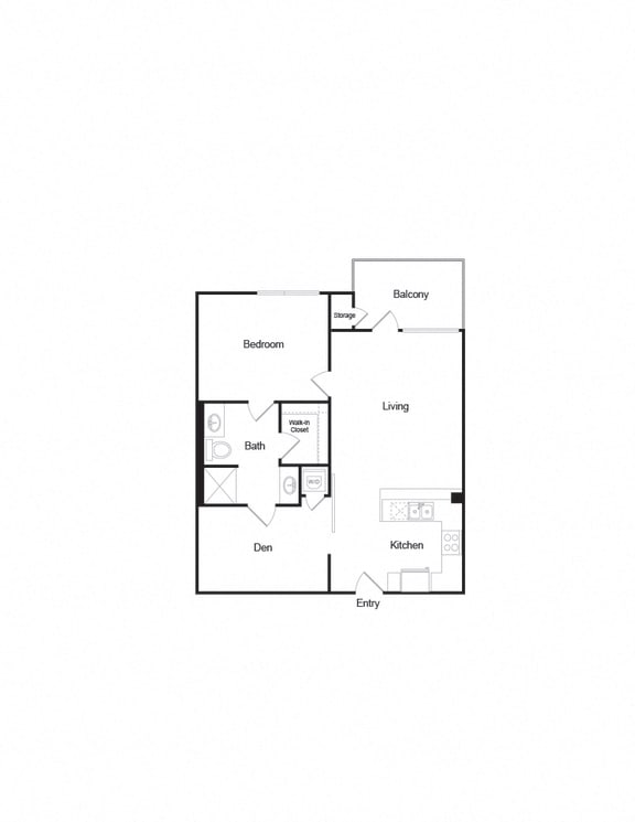 Floor Plan  A9 1b1b 925sf Floorplan complete with balcony
