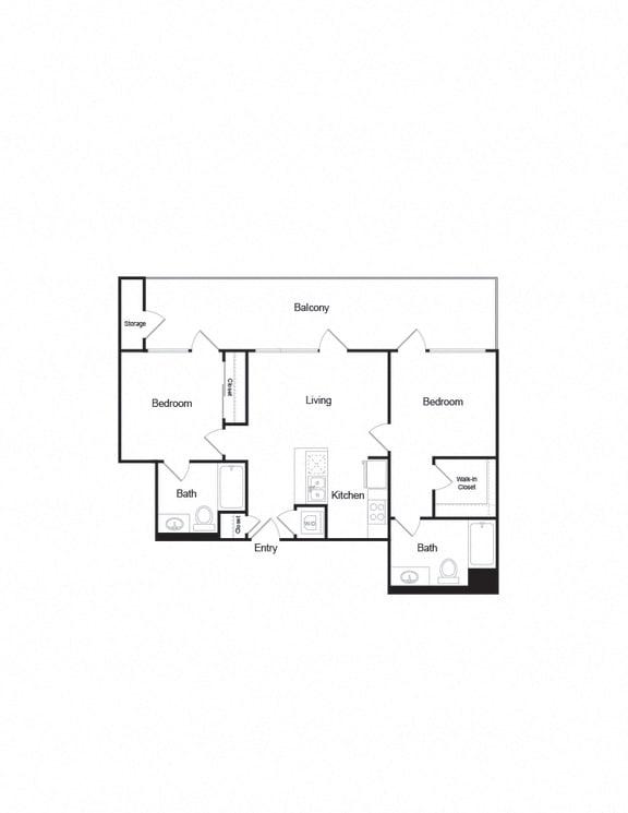 Floor Plan  B1_2b2b_895sf with large balcony