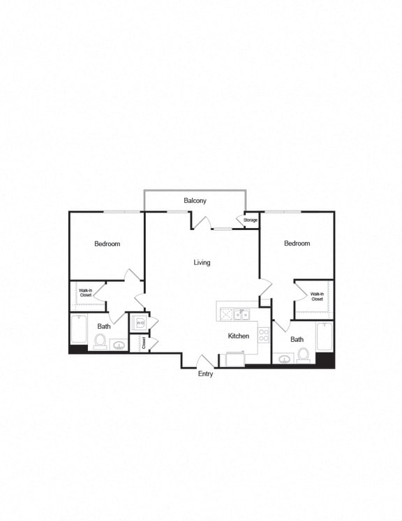 Floor Plan  B4_2b2b_1111sf apartment unit in brentwood